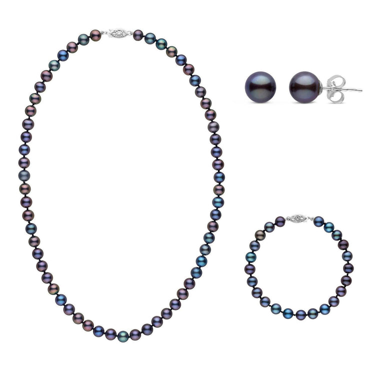 18 Inch 3 Piece Set of 6.5-7.0 mm AAA Black Freshwater Pearls