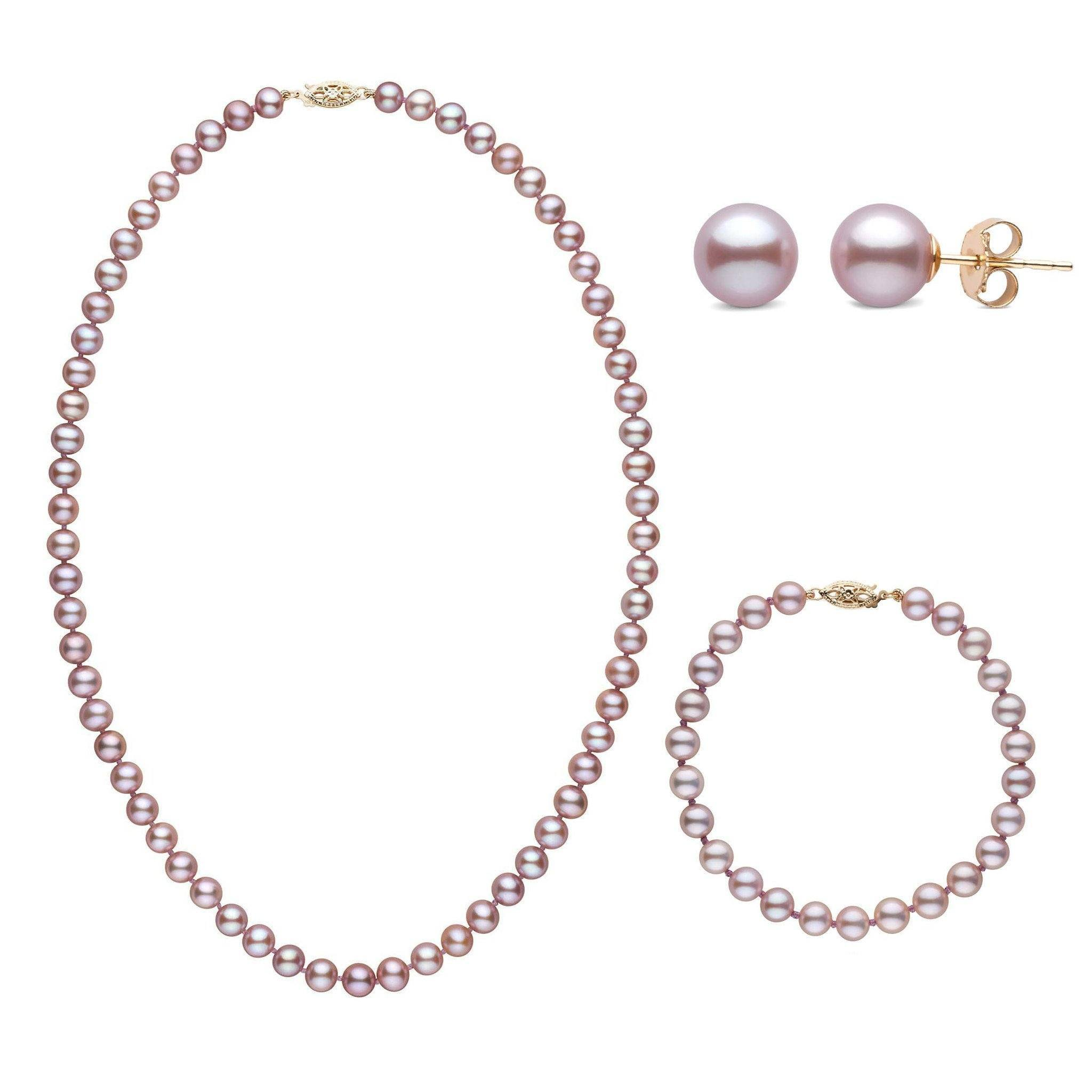 18 Inch 3 Piece Set of 6.5-7.0 mm AAA Lavender Freshwater Pearls