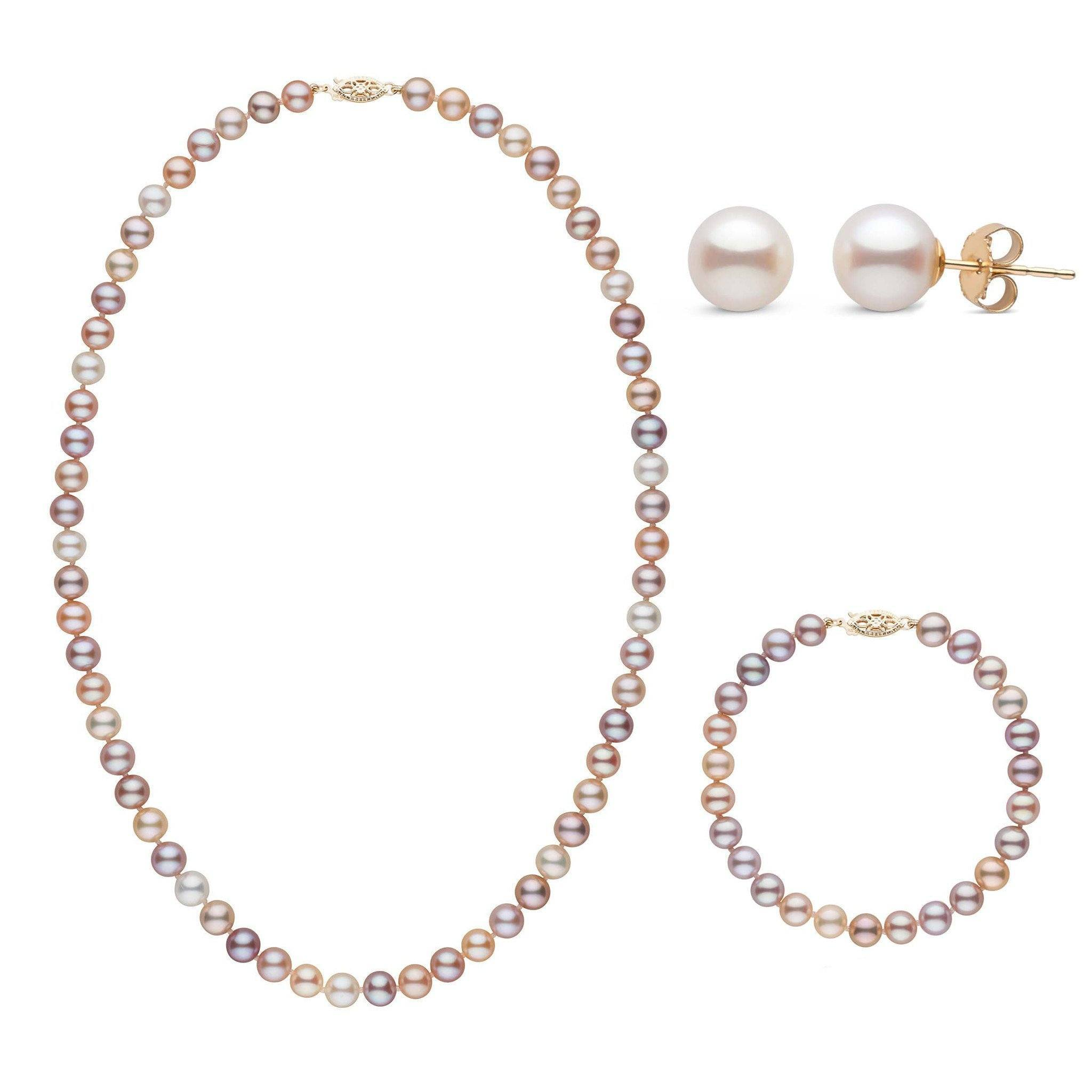 18 Inch 3 Piece Set of 6.5-7.0 mm AAA Multicolor Freshwater Pearls