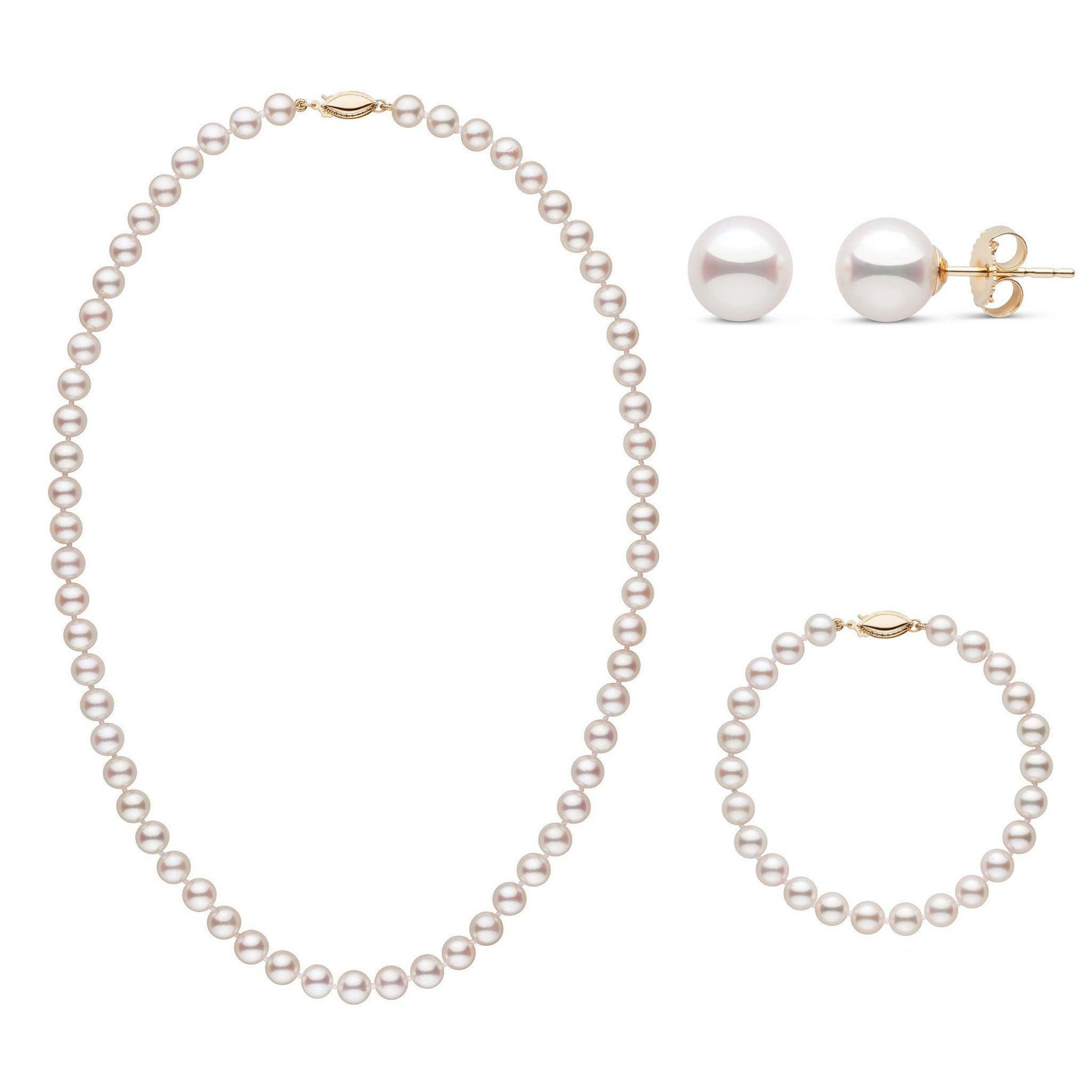 18 Inch 3 Piece Set of 6.5-7.0 mm AAA White Akoya Pearls