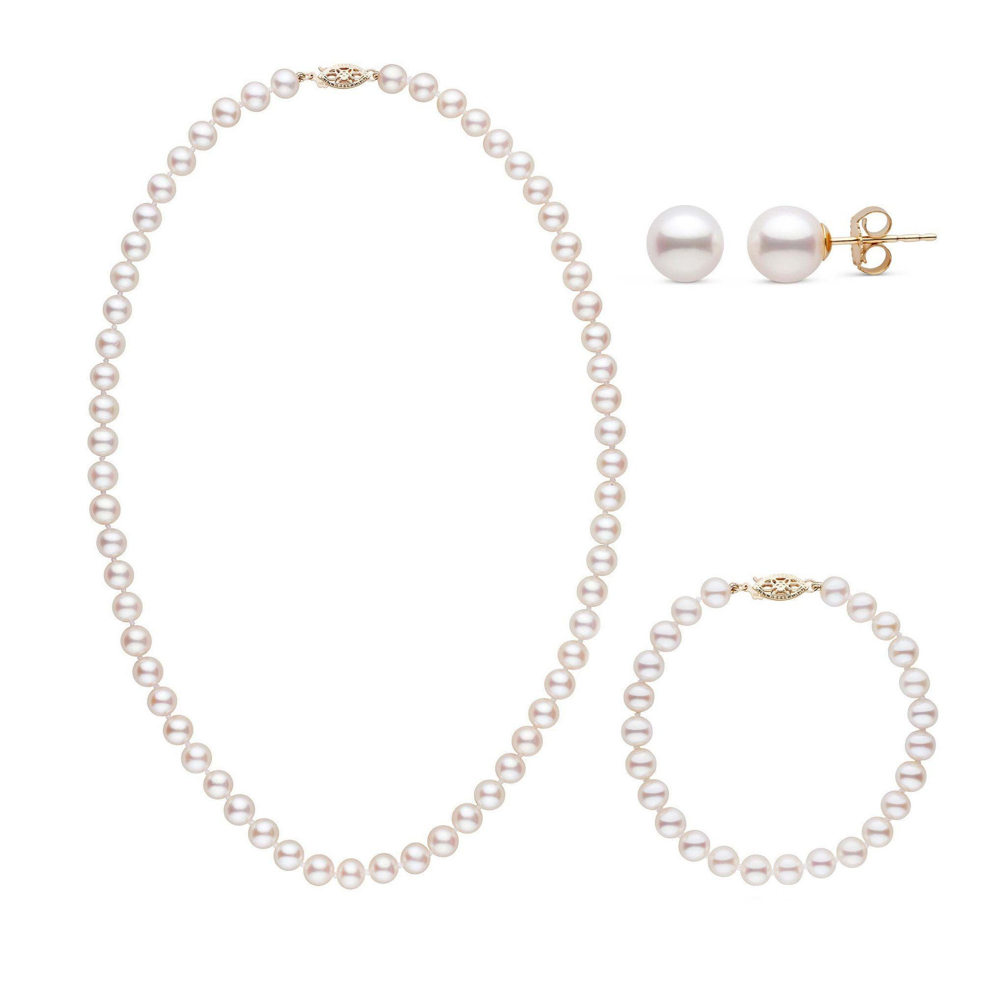 18 Inch 3 Piece Set of 6.5-7.0 mm AAA White Freshwater Pearls