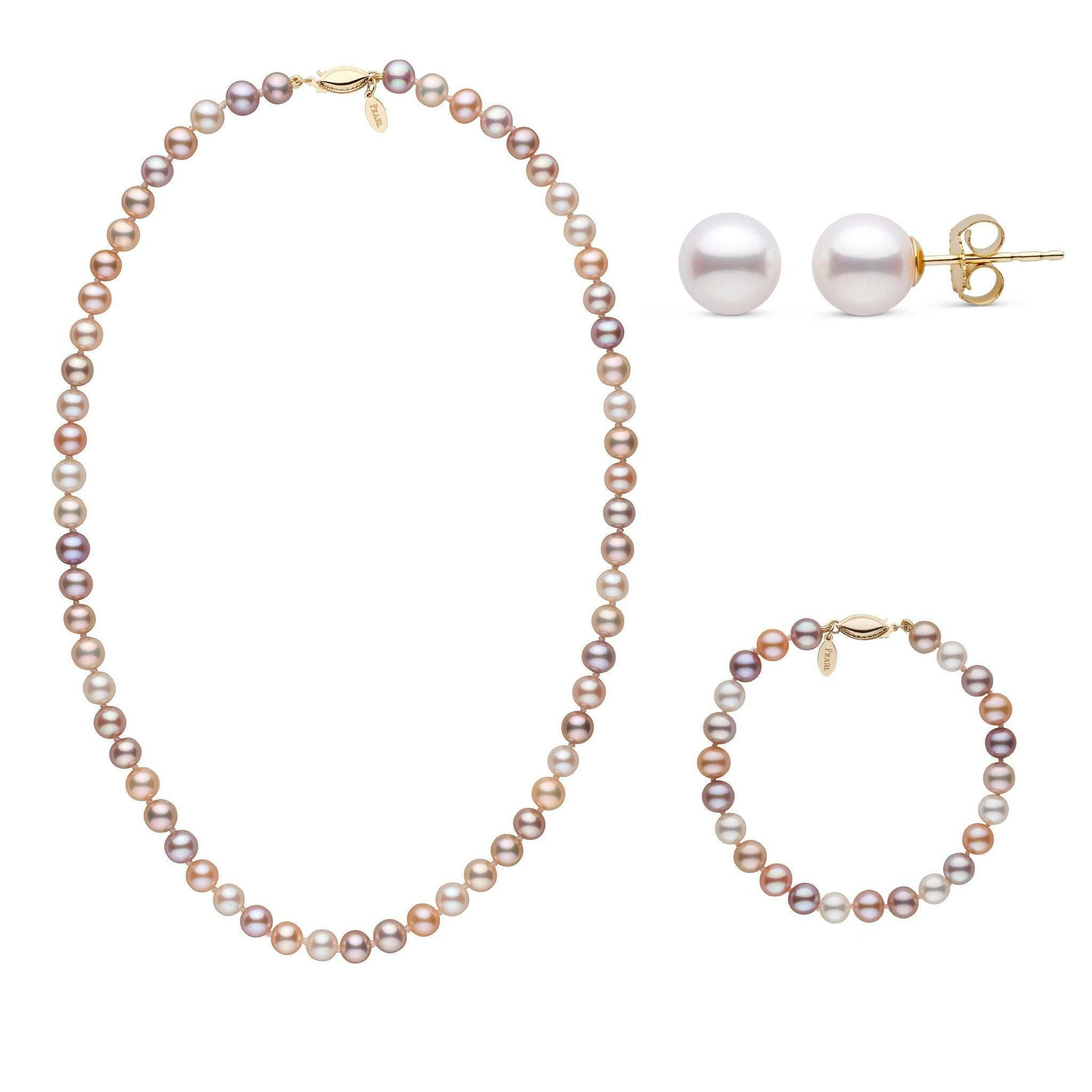 18 Inch 3 Piece Set of 6.5-7.0 mm Freshadama Multicolor Freshwater Pearl