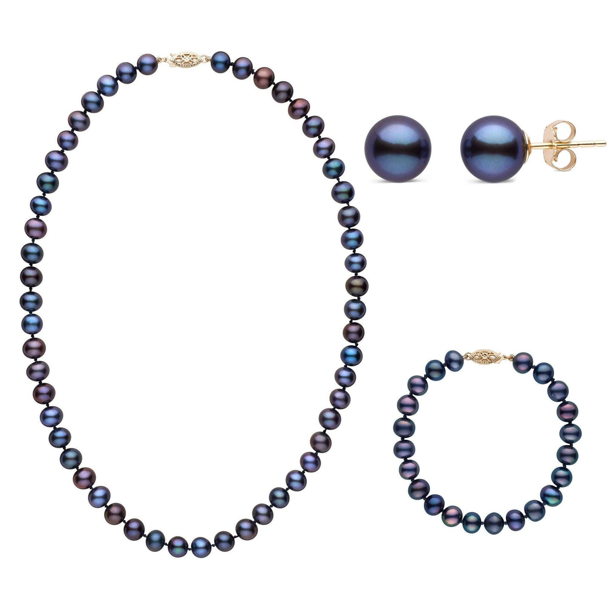 18 Inch 3 Piece Set of 7.5-8.0 mm AA+ Black Freshwater Pearls