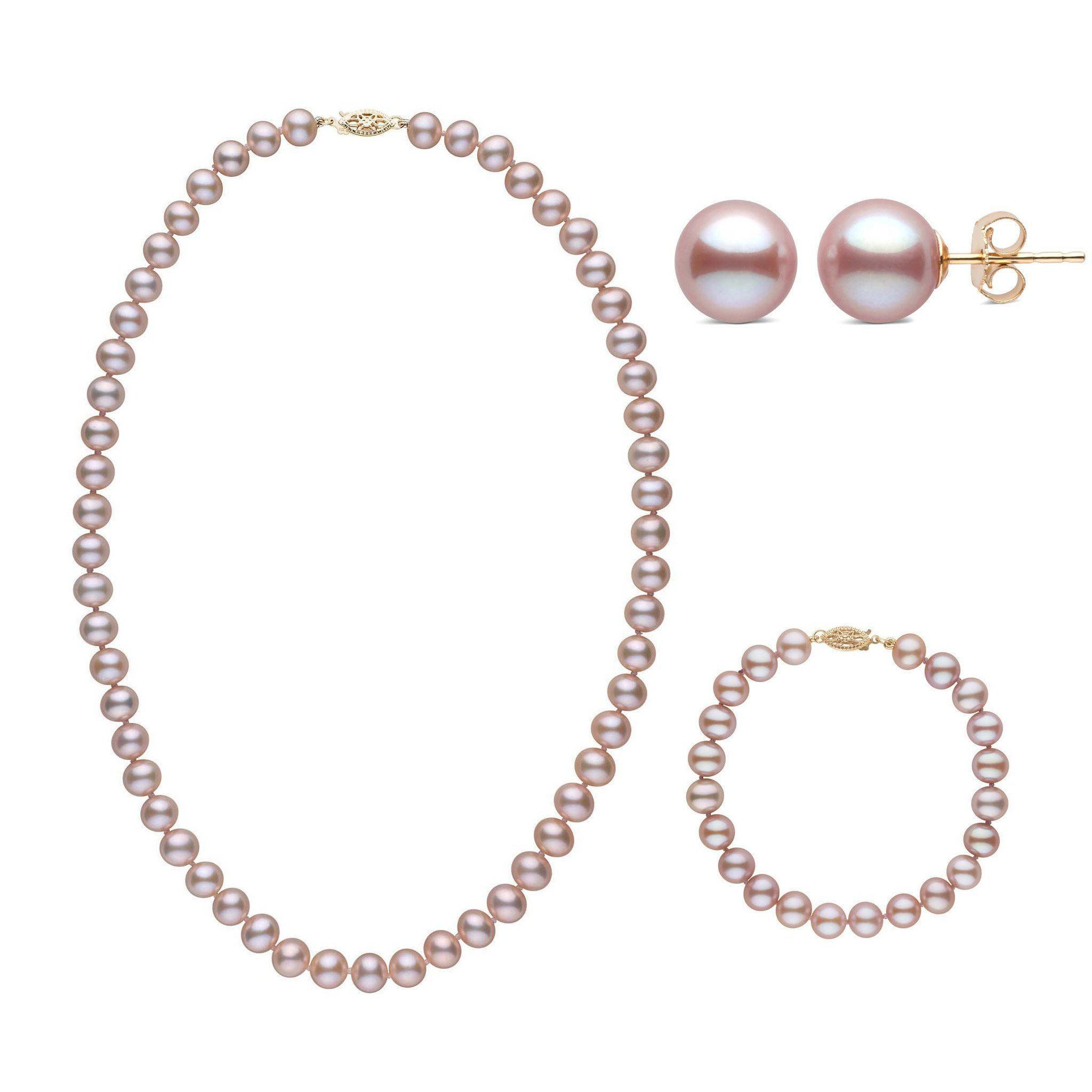 18 Inch 3 Piece Set of 7.5-8.0 mm AA+ Lavender Freshwater Pearls