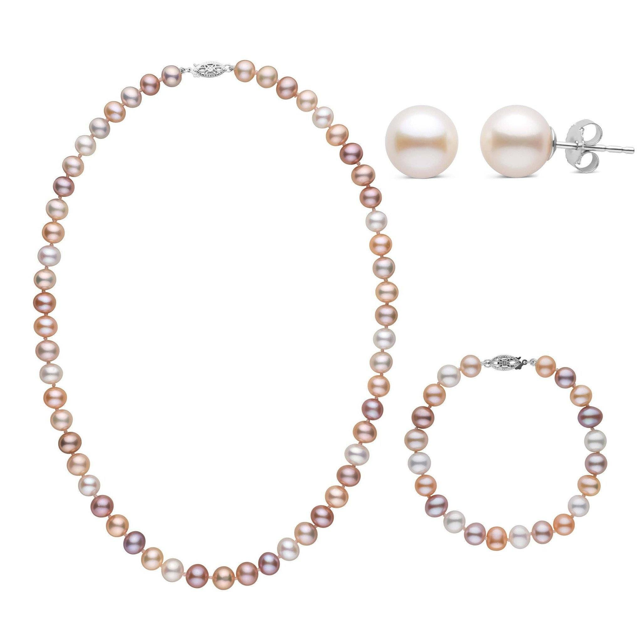 18 Inch 3 Piece Set of 7.5-8.0 mm AA+ Multicolor Freshwater Pearls