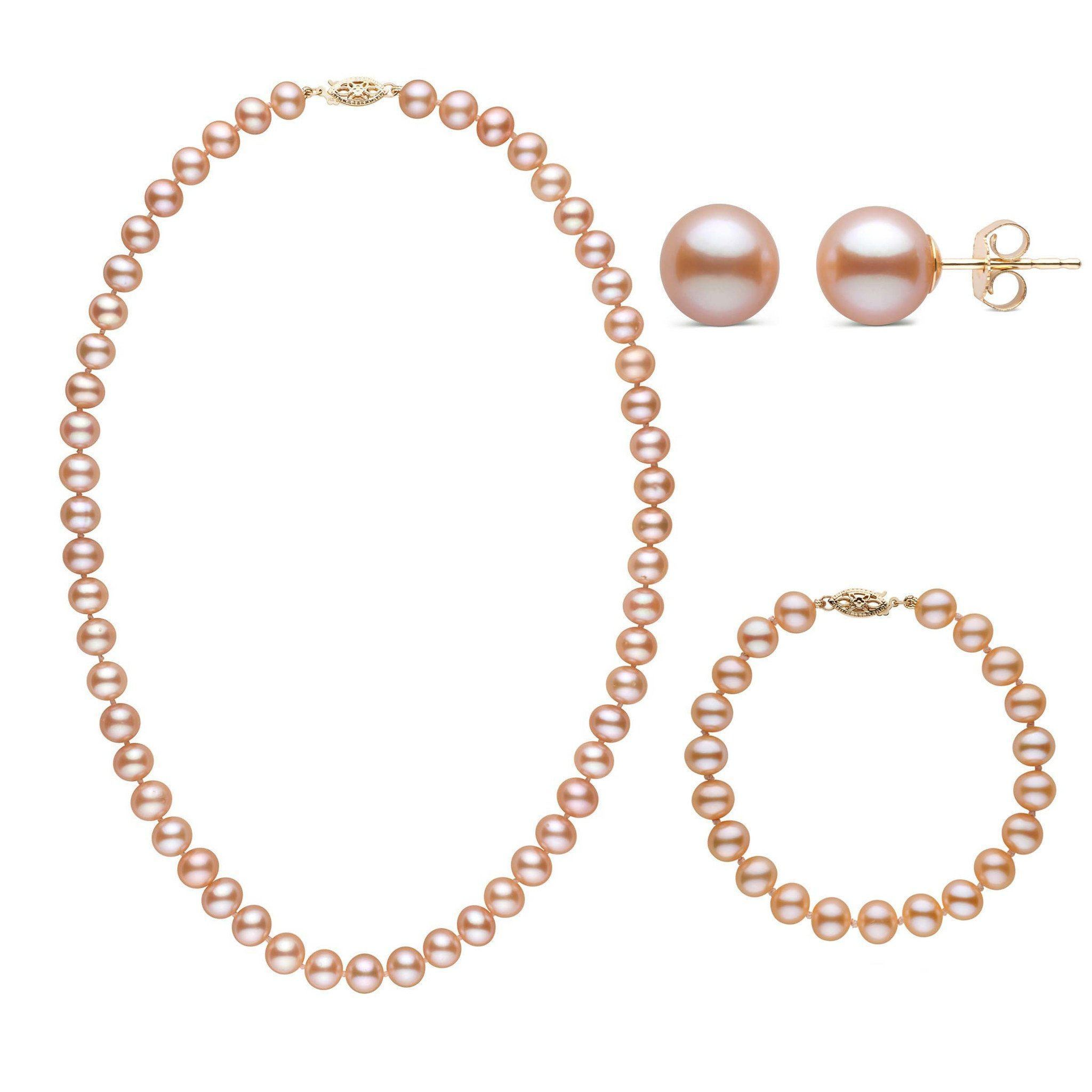 18 Inch 3 Piece Set of 7.5-8.0 mm AA+ Pink Freshwater Pearls