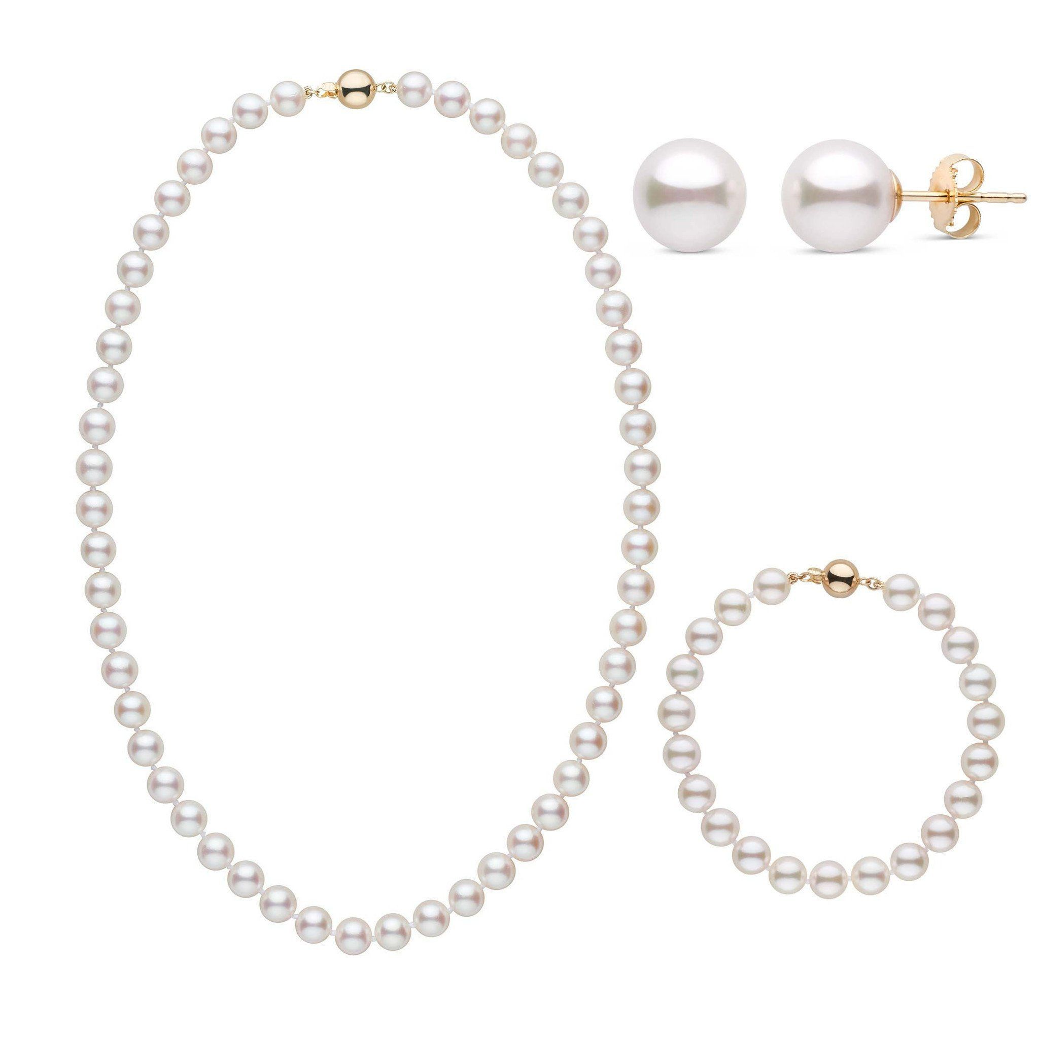 18 Inch 3 Piece Set of 7.5-8.0 mm AA+ White Akoya Pearls