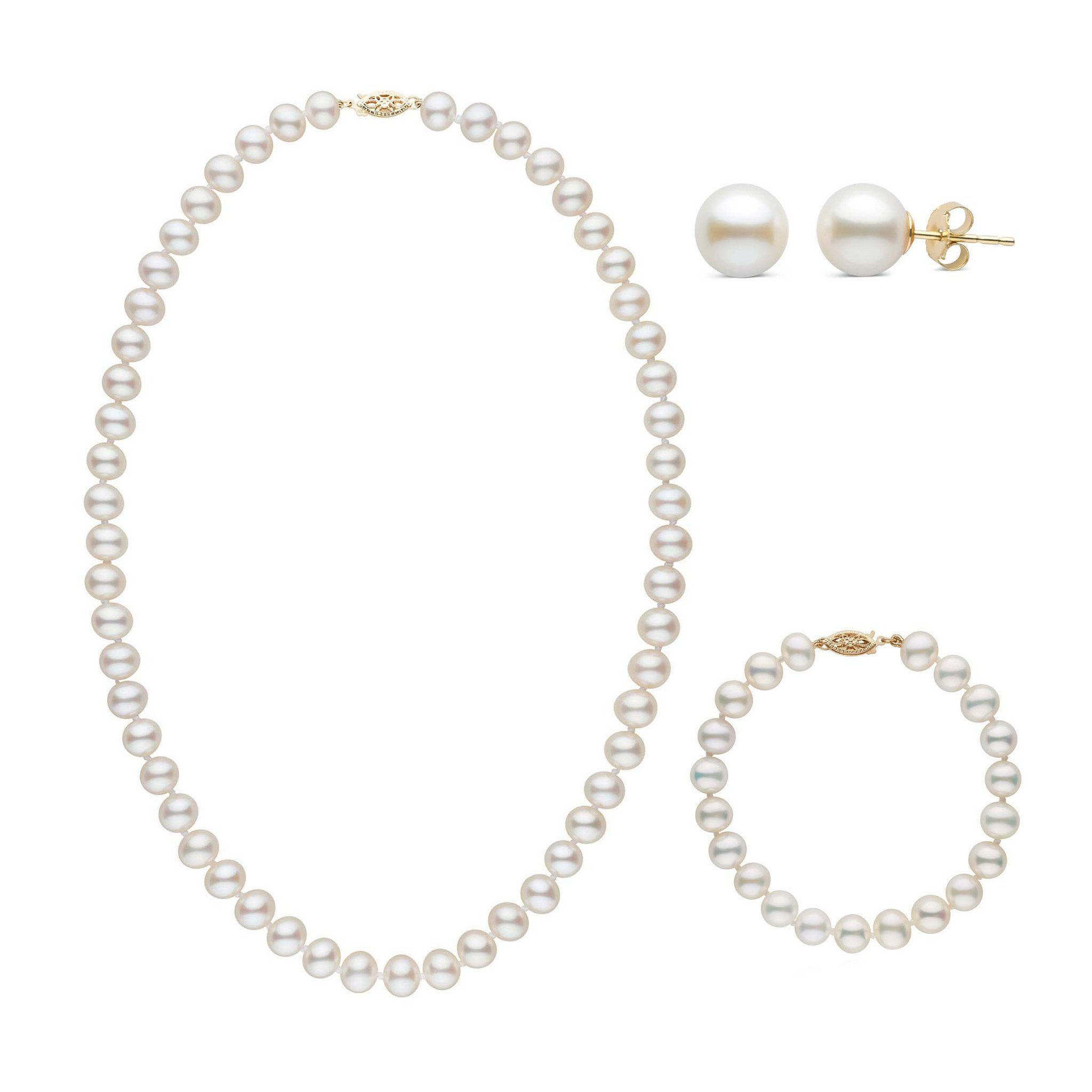 18 Inch 3 Piece Set of 7.5-8.0 mm AA+ White Freshwater Pearls