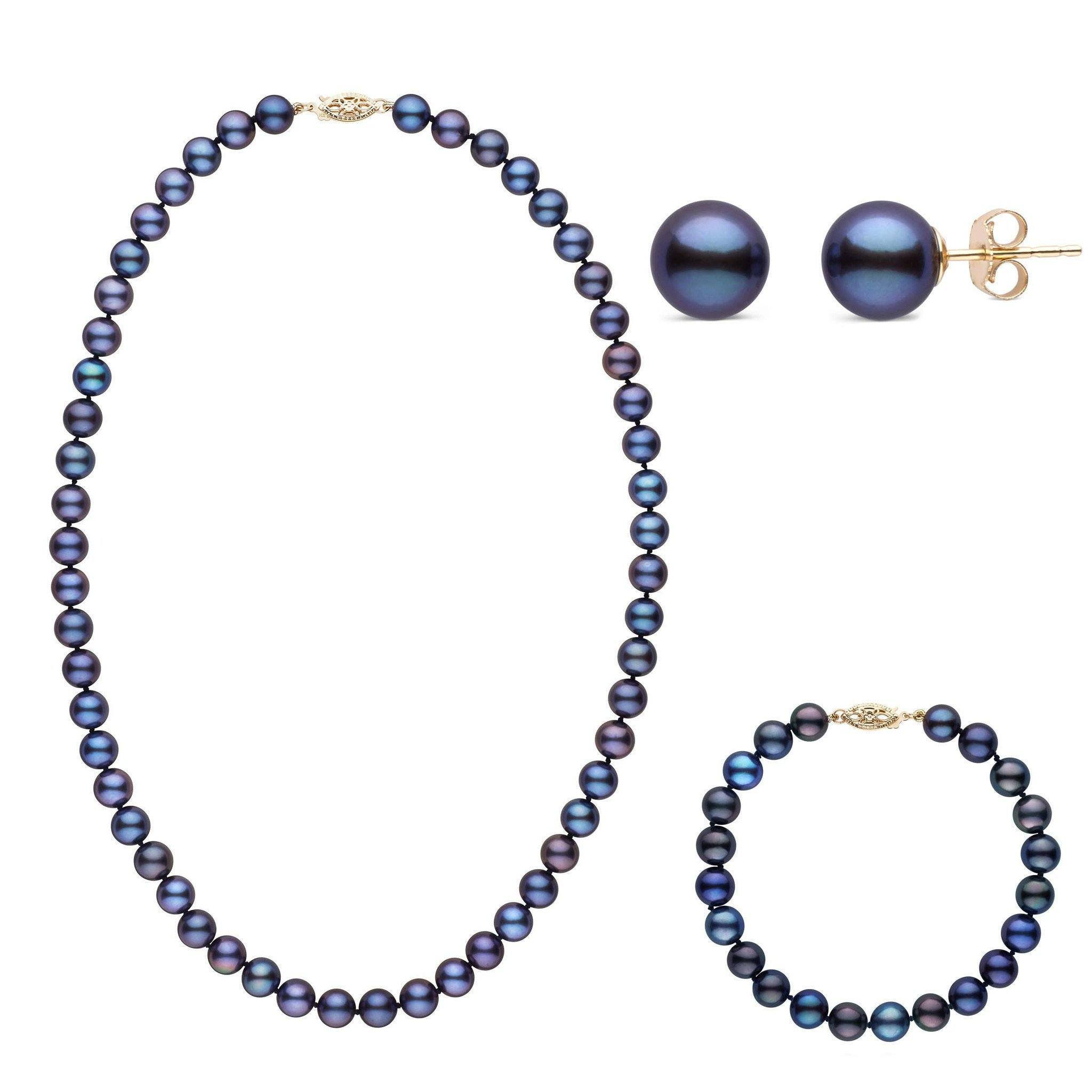 18 Inch 3 Piece Set of 7.5-8.0 mm AAA Black Freshwater Pearls