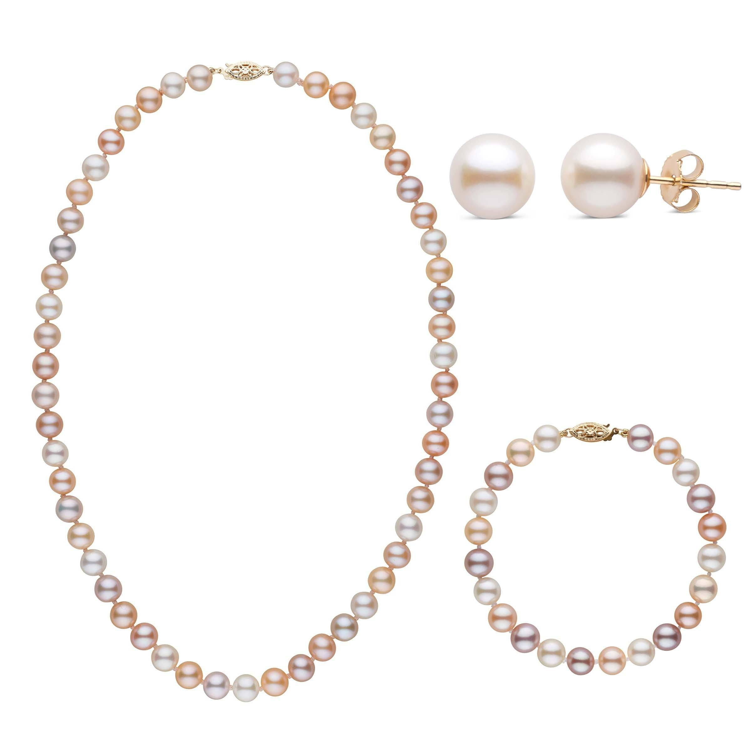 18 Inch 3 Piece Set of 7.5-8.0 mm AAA Multicolor Freshwater Pearls