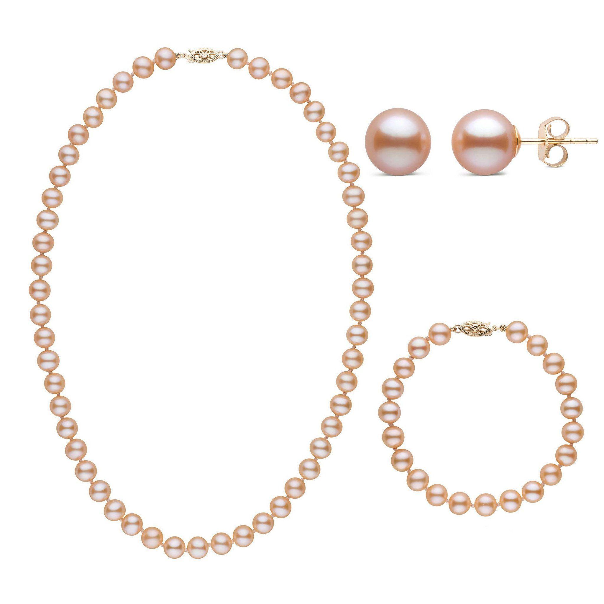 18 Inch 3 Piece Set of 7.5-8.0 mm AAA Pink Freshwater Pearls