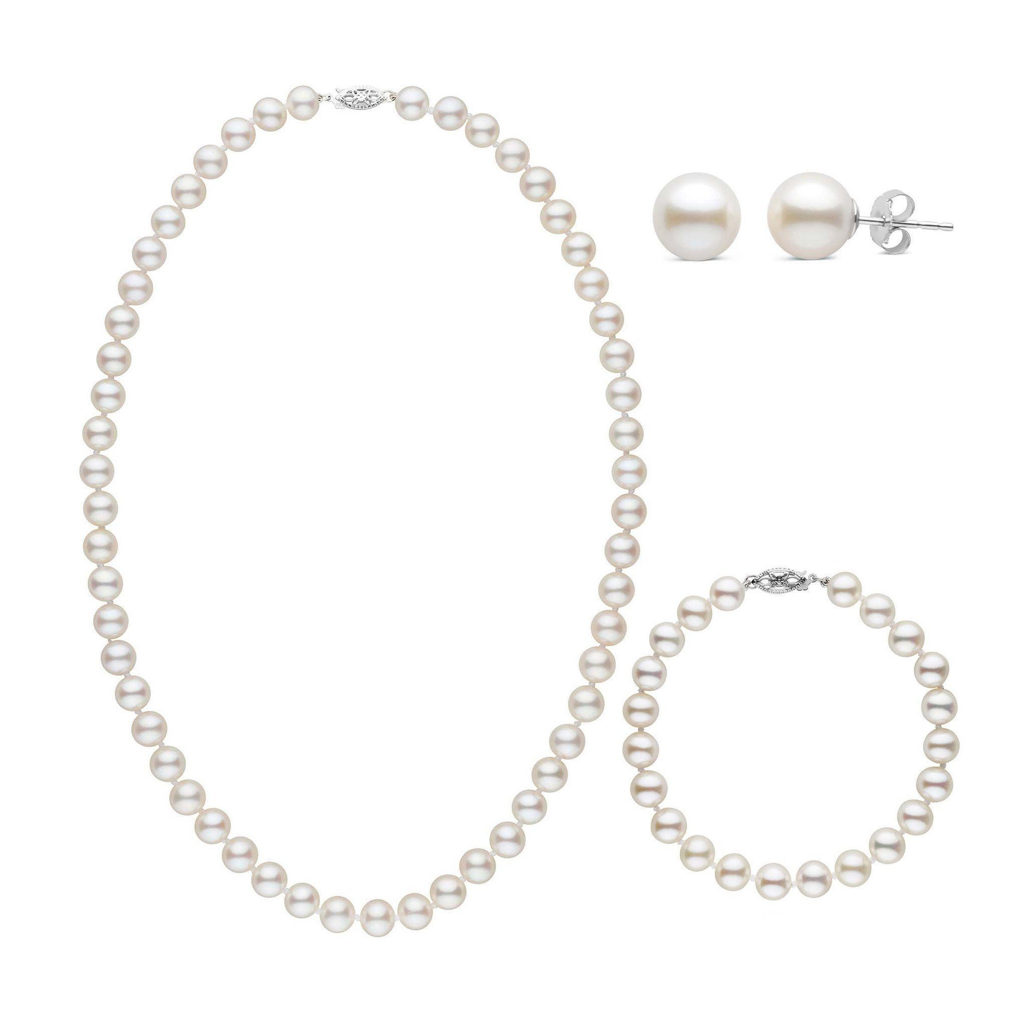 18 Inch 3 Piece Set of 7.5-8.0 mm AAA White Freshwater Pearls