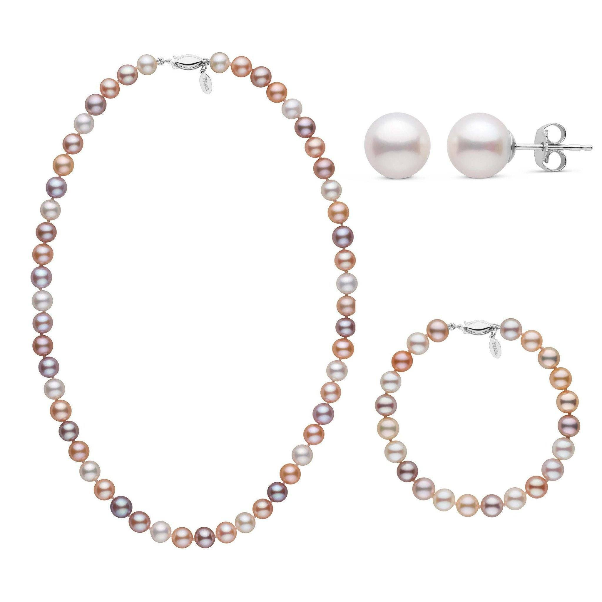 18 Inch 3 Piece Set of 7.5-8.0 mm Freshadama Multicolor Freshwater Pearl