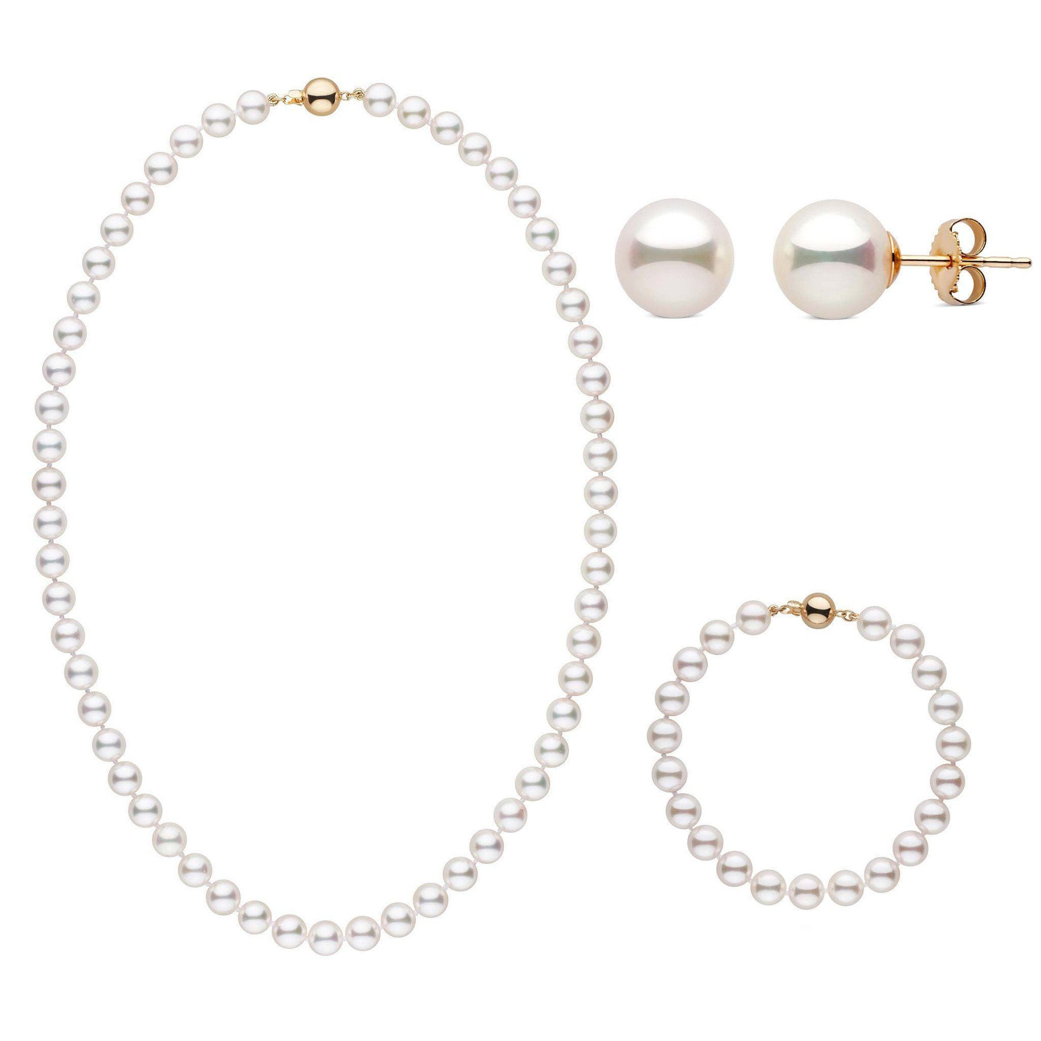 18 Inch 3 Piece Set of 7.5-8.0 mm AAA White Akoya Pearls