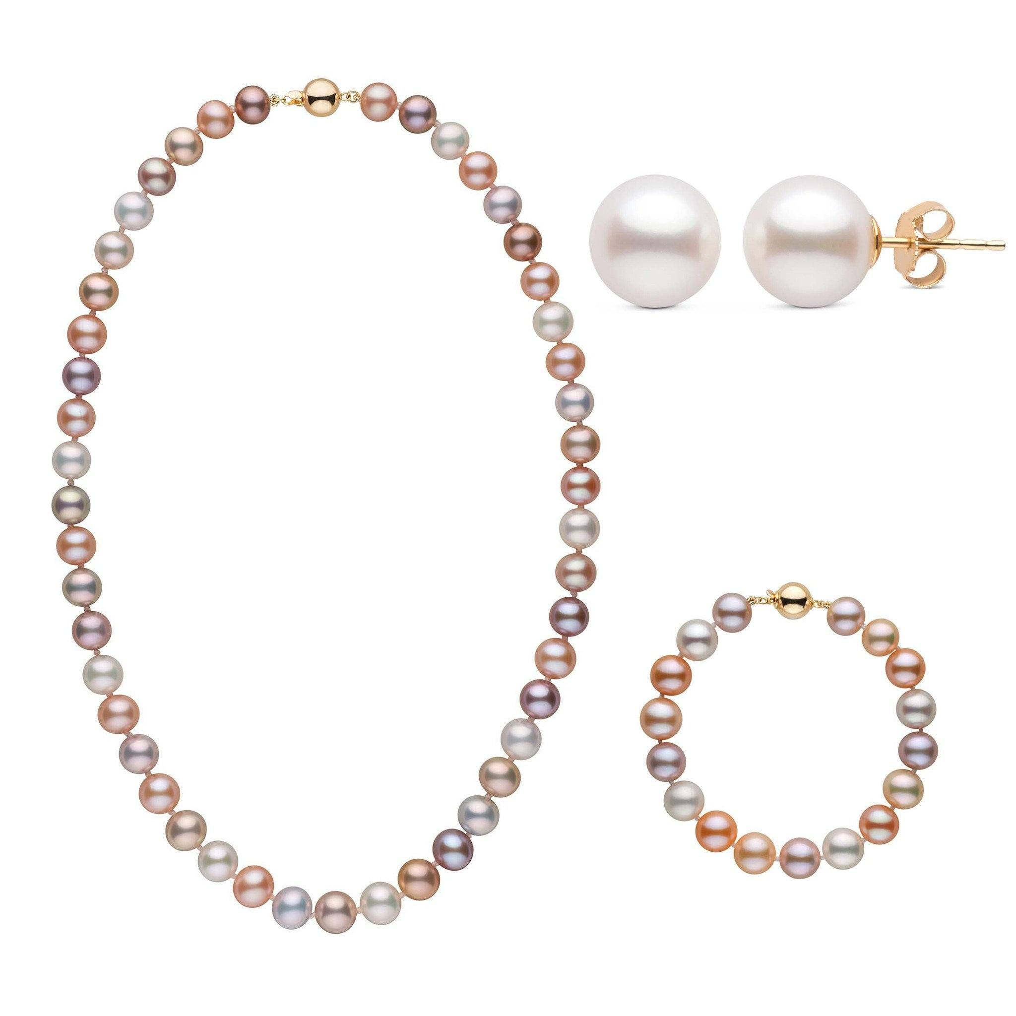 18 Inch 3 Piece Set of 8.5-9.0 mm AAA Multicolor Freshwater Pearls