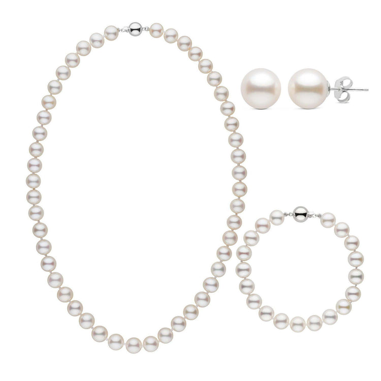 18 Inch 3 Piece Set of 8.5-9.0 mm AAA White Freshwater Pearls