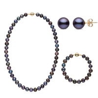 18 Inch 3 Piece Set of 8.5-9.0 mm Black Freshwater Pearls