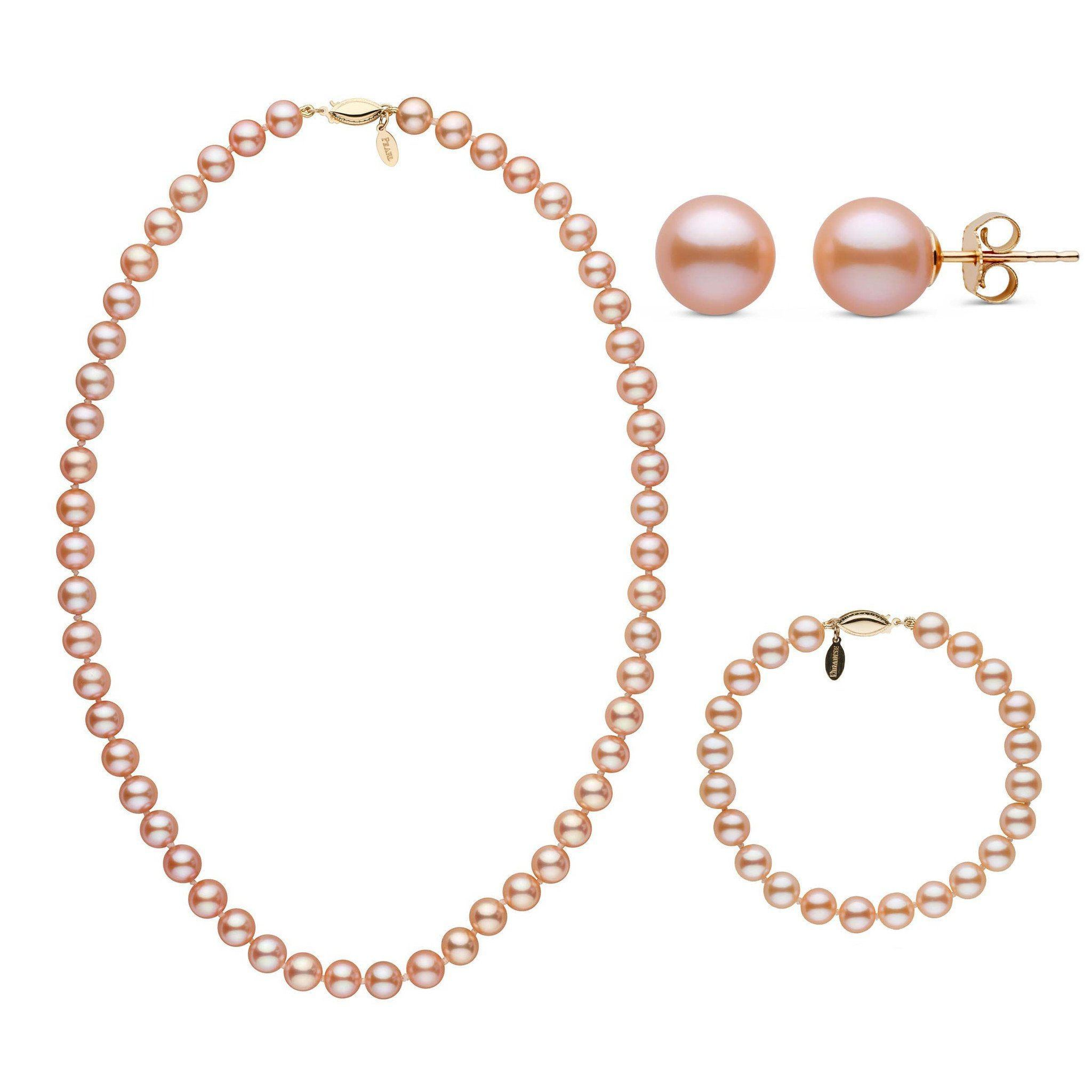 18 Inch 7.5-8.0 mm Pink to Peach Freshadama Freshwater Pearl Set