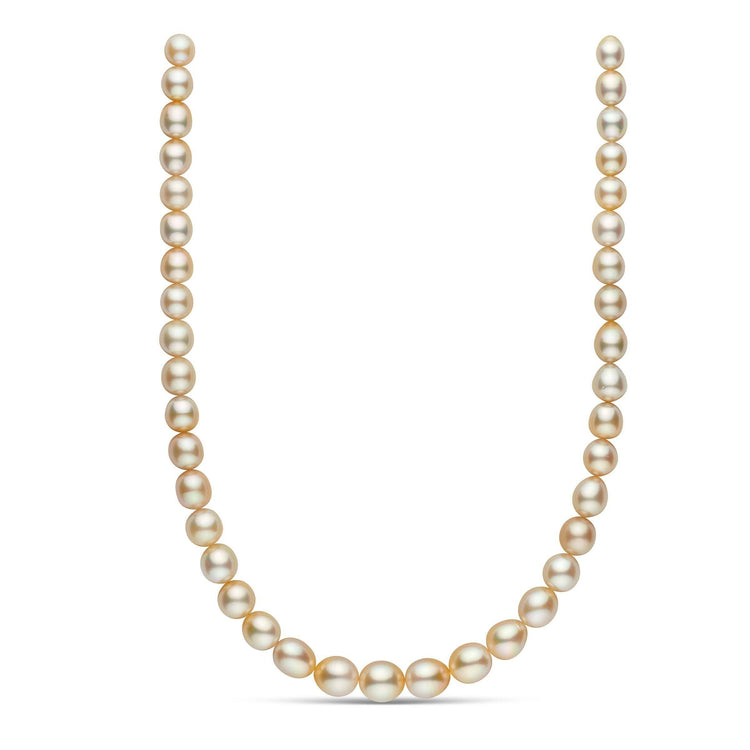 18-inch 8.0-11.7 mm AAA Drop Golden South Sea Pearl Necklace
