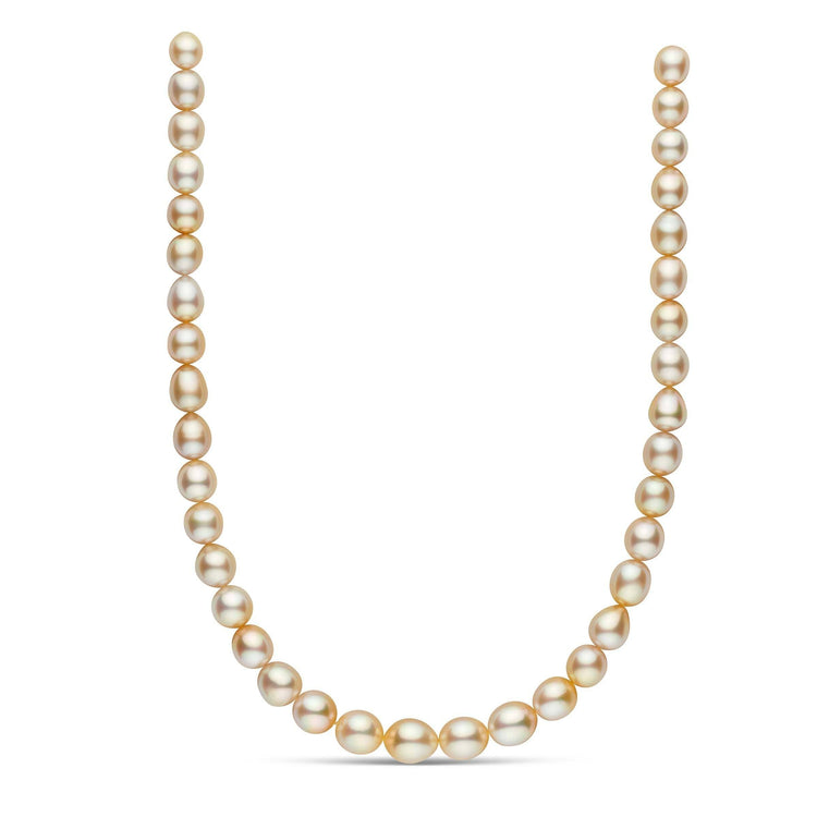 18-inch 8.5-11.2 mm AAA Drop Golden South Sea Pearl Necklace