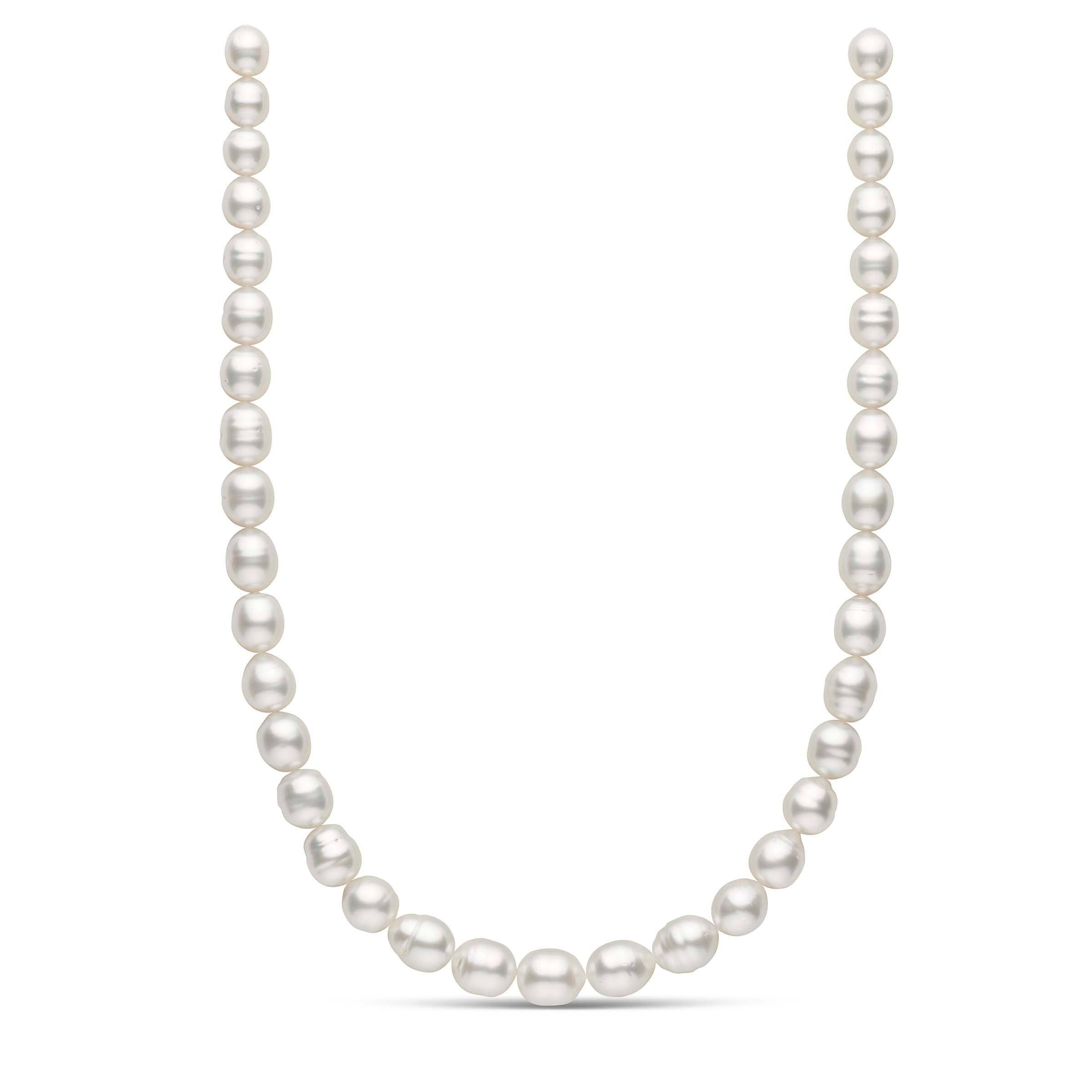 18-inch 8.6-10.9 mm AA+ Baroque White South Sea Pearl Necklace