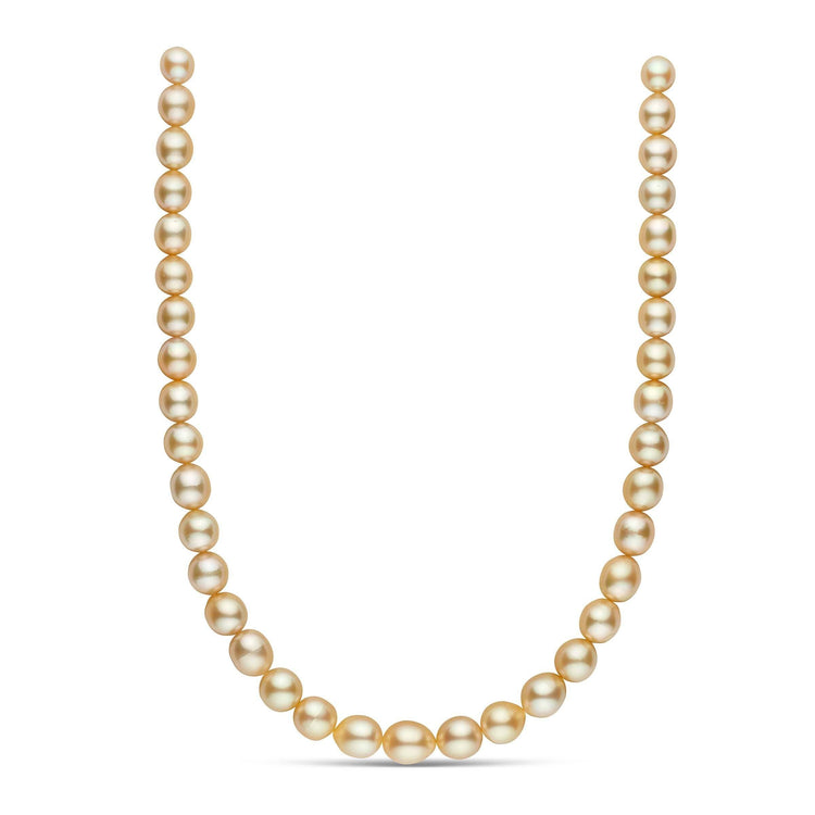 18-inch 8.6-10.9 mm AAA Drop Golden South Sea Pearl Necklace