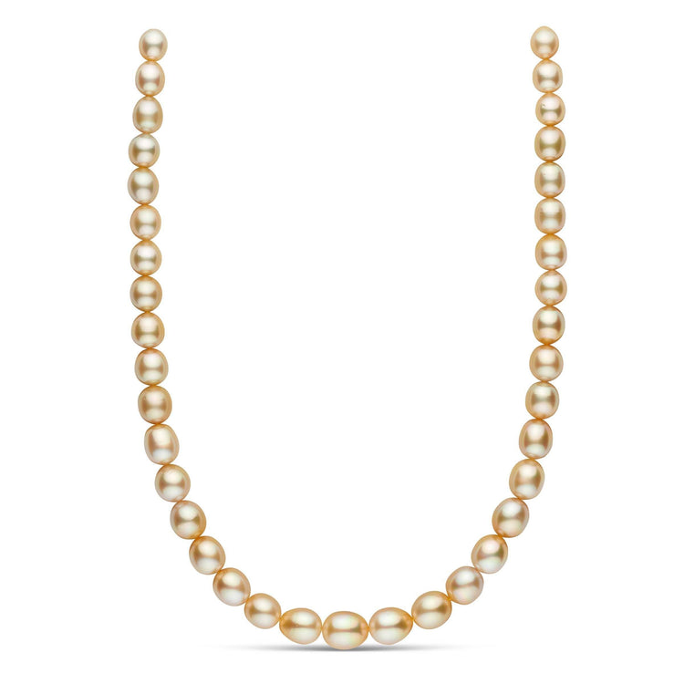 18-inch 8.6-11.5 mm AAA Drop Golden South Sea Pearl Necklace