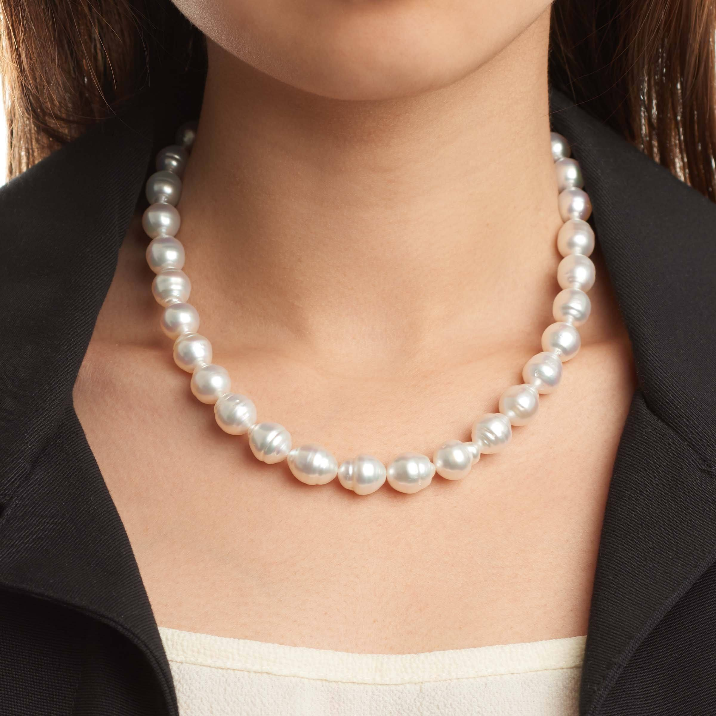 18-inch 8.7-10.9 mm AA+ Baroque White South Sea Pearl Necklace