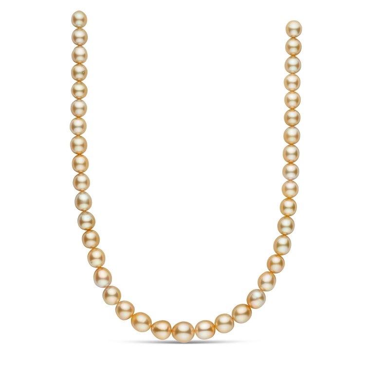 18-inch 9.0-11.8 mm AAA Drop Golden South Sea Pearl Necklace