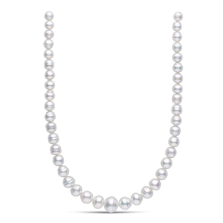 18 inch 9.0-15.0 mm AA+/AAA Baroque White South Sea Pearl Necklace