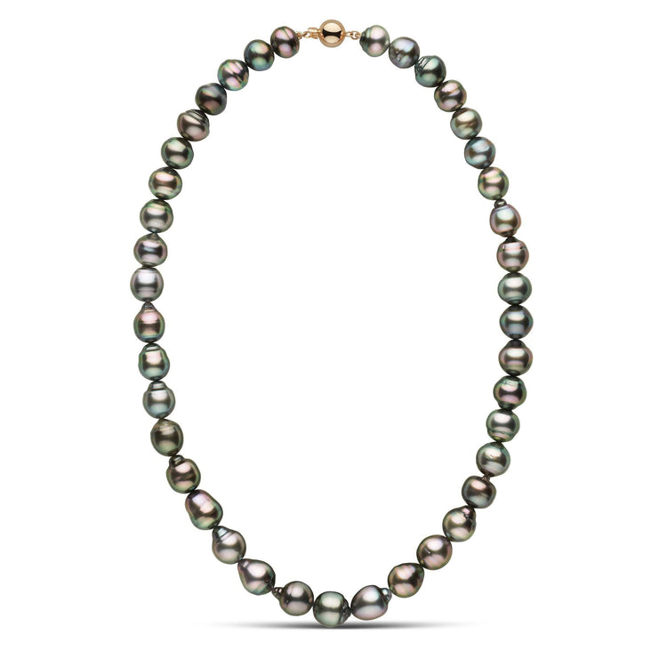 18 inch 9.0-9.9 mm AA+/AAA Drop to Baroque Tahitian Pearl Necklace