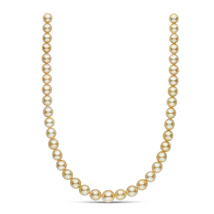 18-inch 9.1-11.8 mm AA+/AAA Drop Golden South Sea Pearl Necklace