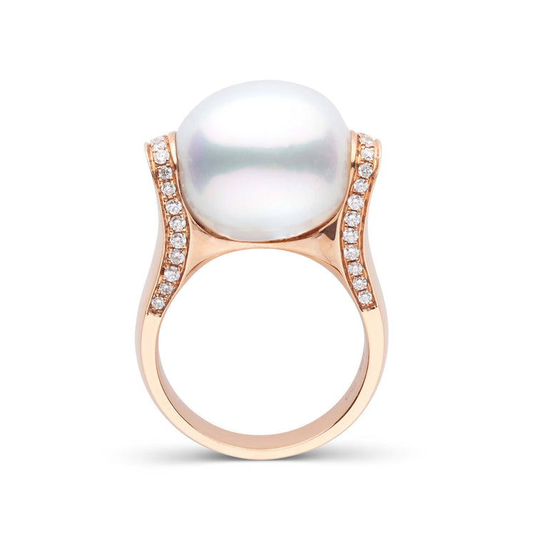 18K Rose Gold and Diamond Ring with Oval White South Sea Pearl