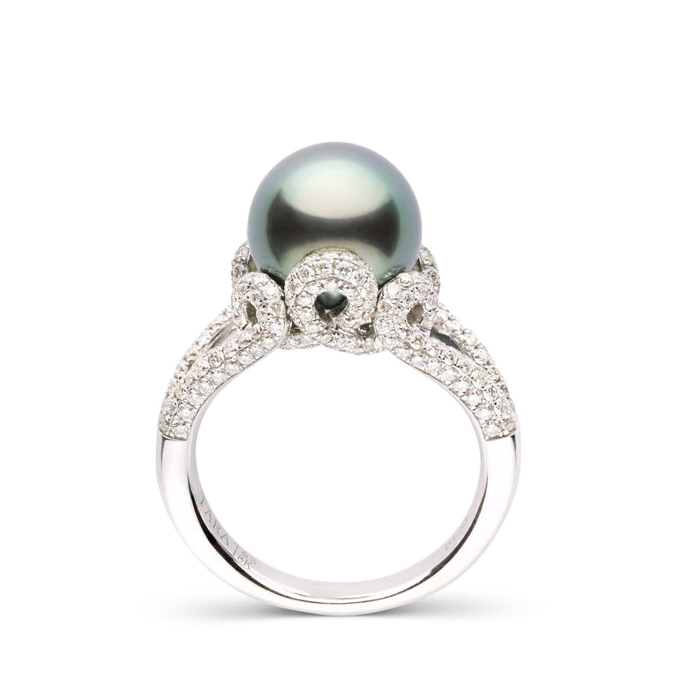 18K White Gold and Diamond Swirl Tahitian Pearl Ring