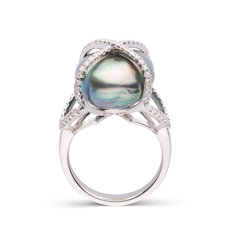 18K White Gold and Tahitian Pearl X Cage Ring