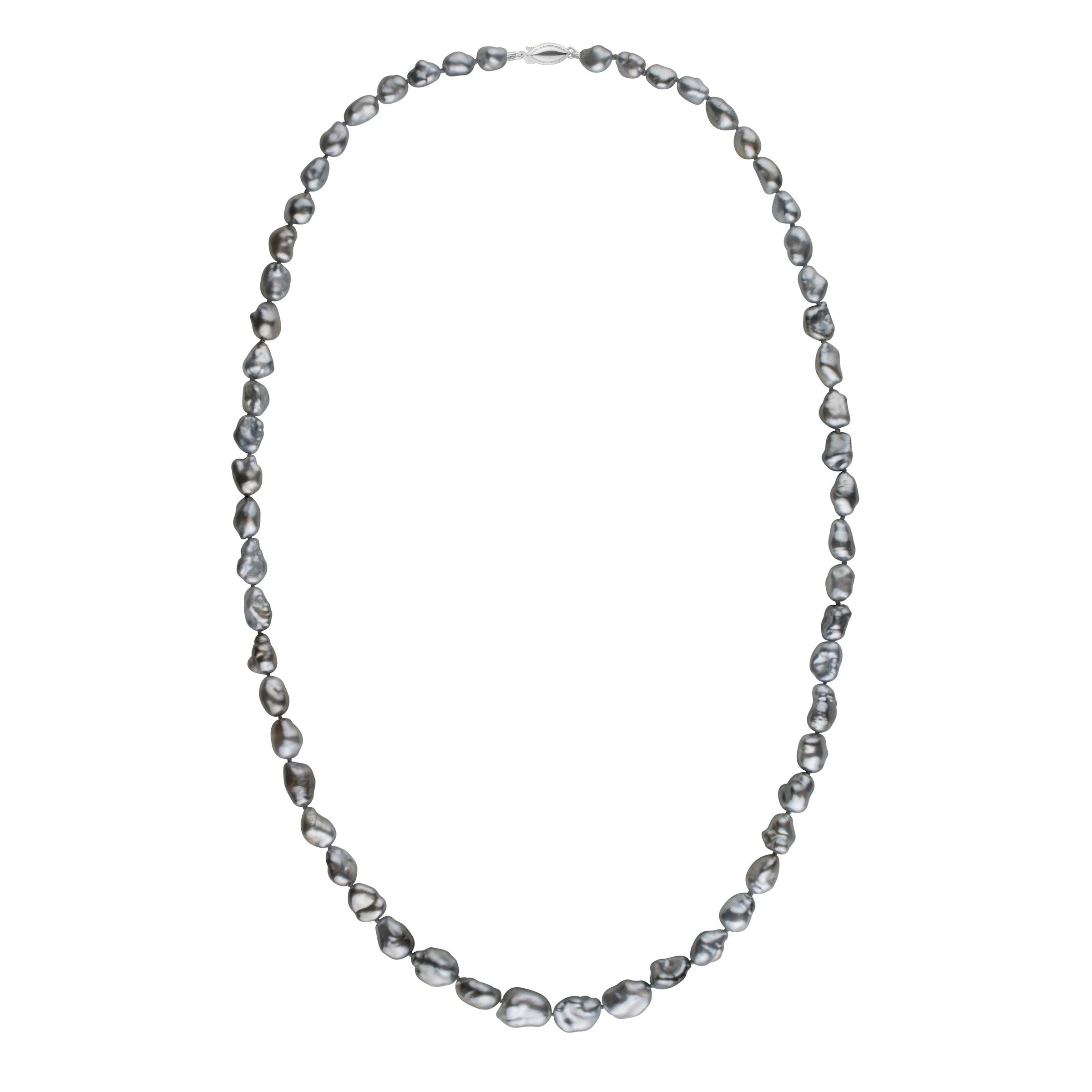 7.5-9.5 mm 24 Inch Dark Silver Keshi Tahitian Pearl Necklace