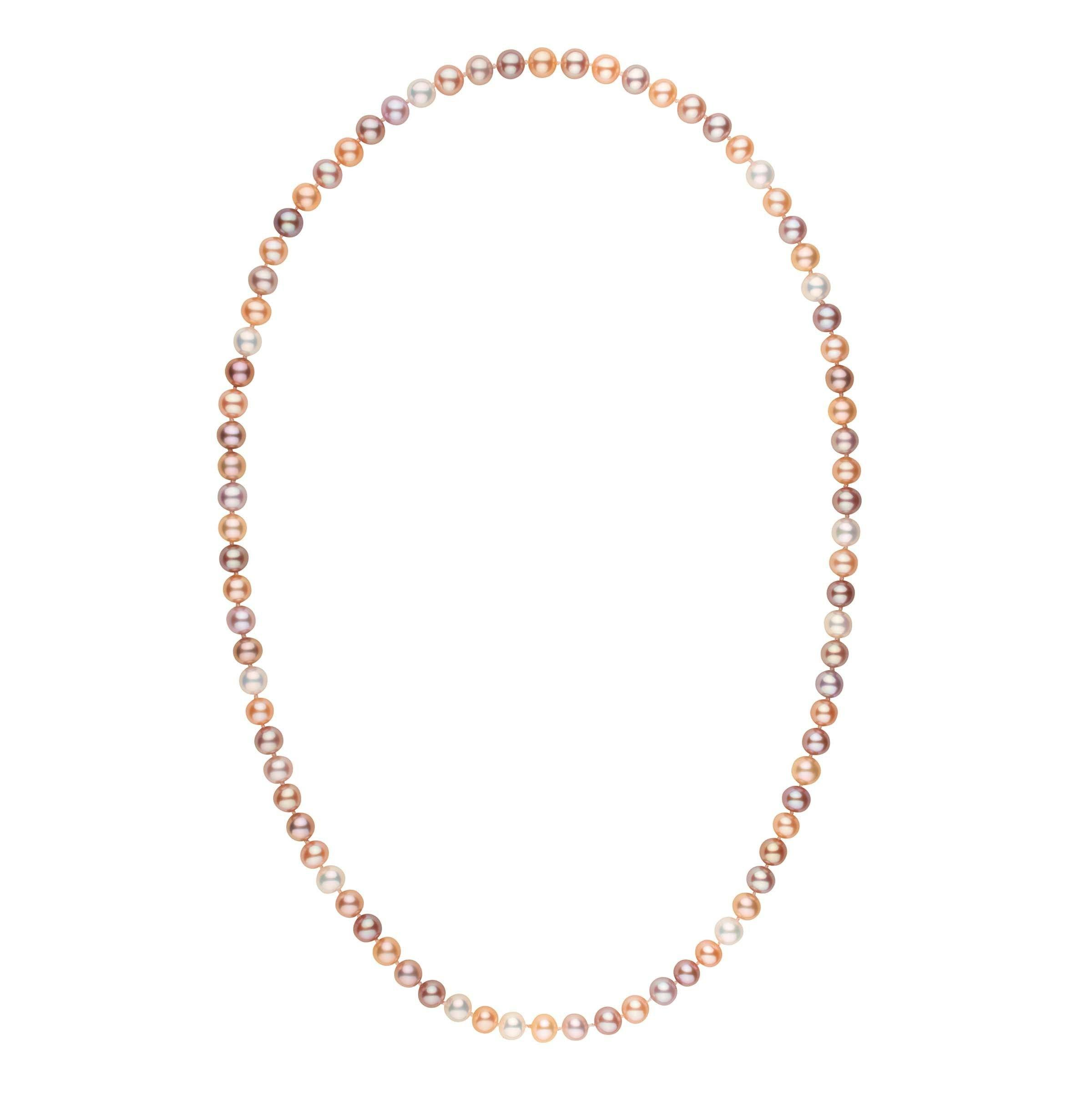 26-inch 7.5-8.0 mm AAA Multicolor Freshwater Pearl Necklace