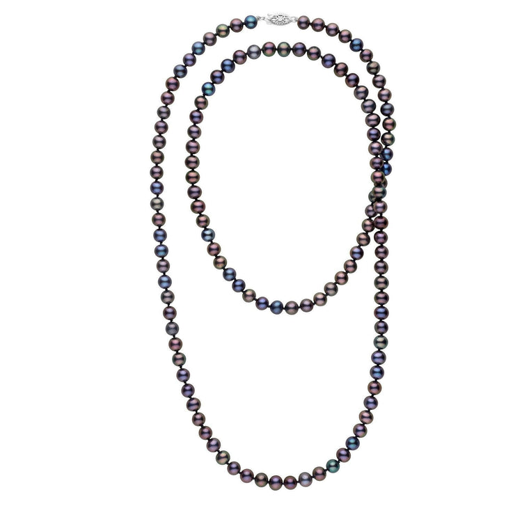35-inch 6.5-7.0 mm AA+ Black Freshwater Pearl Necklace