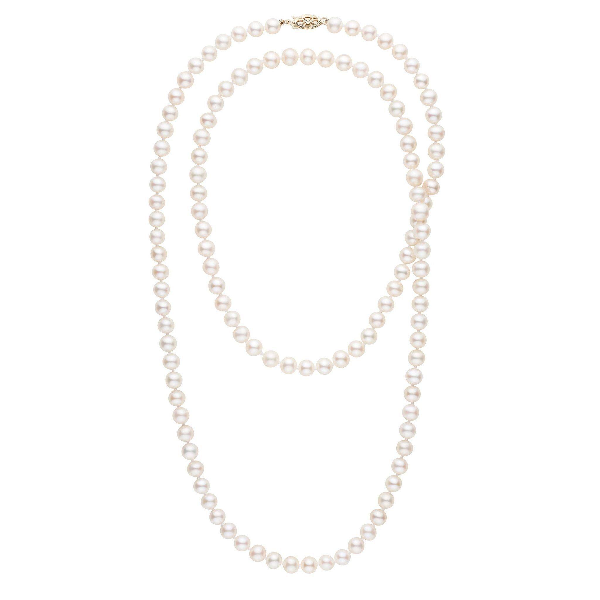 35-inch 6.5-7.0 mm AA+ White Freshwater Pearl Necklace