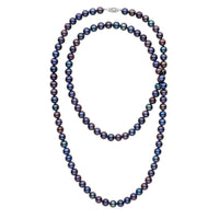 35-inch 7.5-8.0 mm AA+ Black Freshwater Pearl Necklace