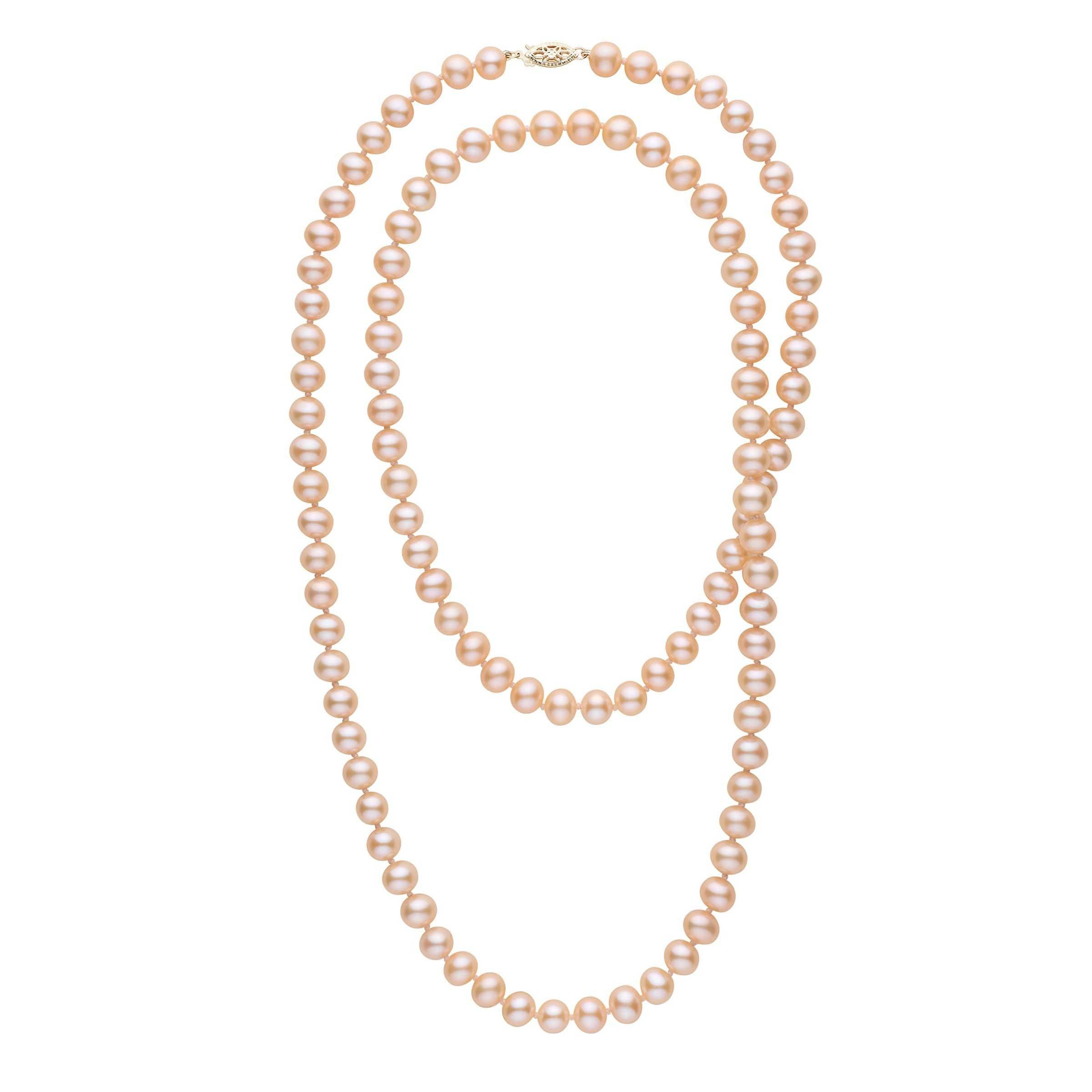 35-inch 7.5-8.0 mm AA+ Pink to Peach Freshwater Pearl Necklace
