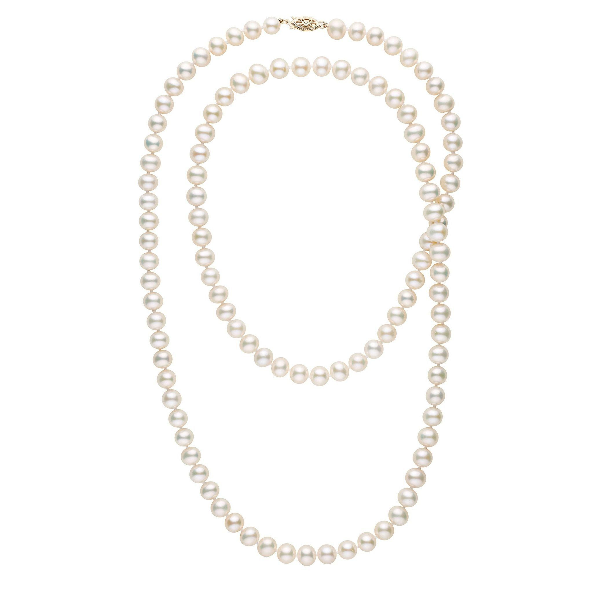 35-inch 7.5-8.0 mm AA+ White Freshwater Pearl Necklace