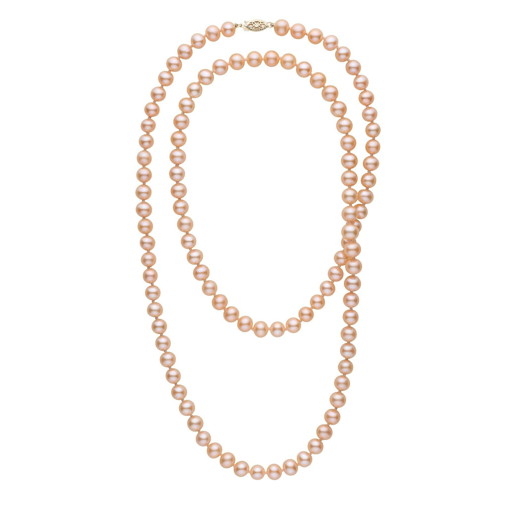 35-inch 7.5-8.0 mm AAA Pink to Peach Freshwater Pearl Necklace
