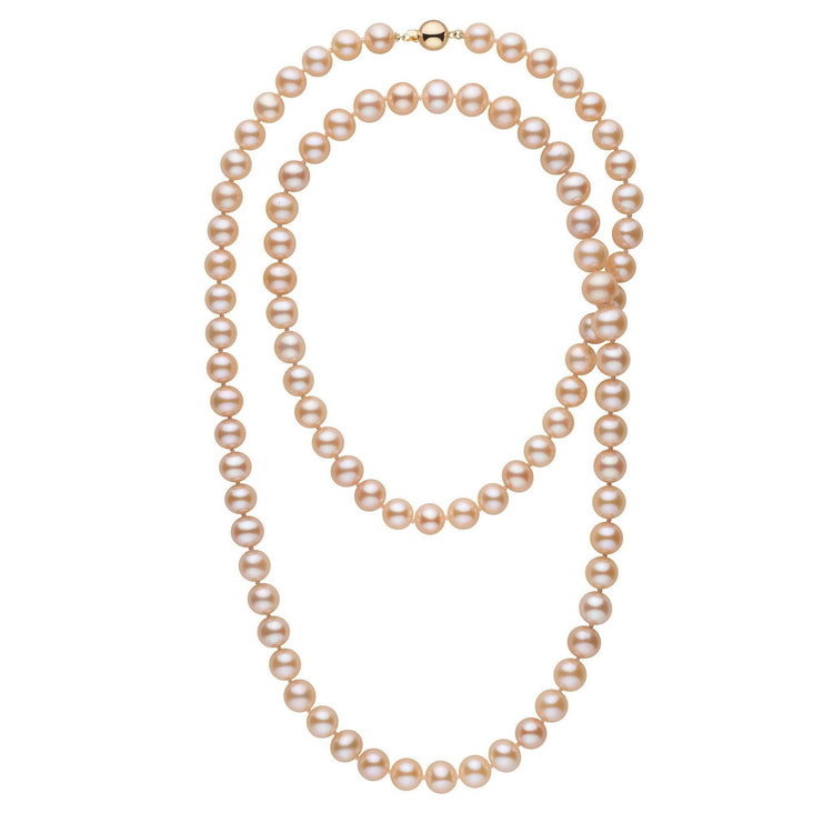 35-inch 8.5-9.0 mm AA+ Pink to Peach Freshwater Pearl Necklace