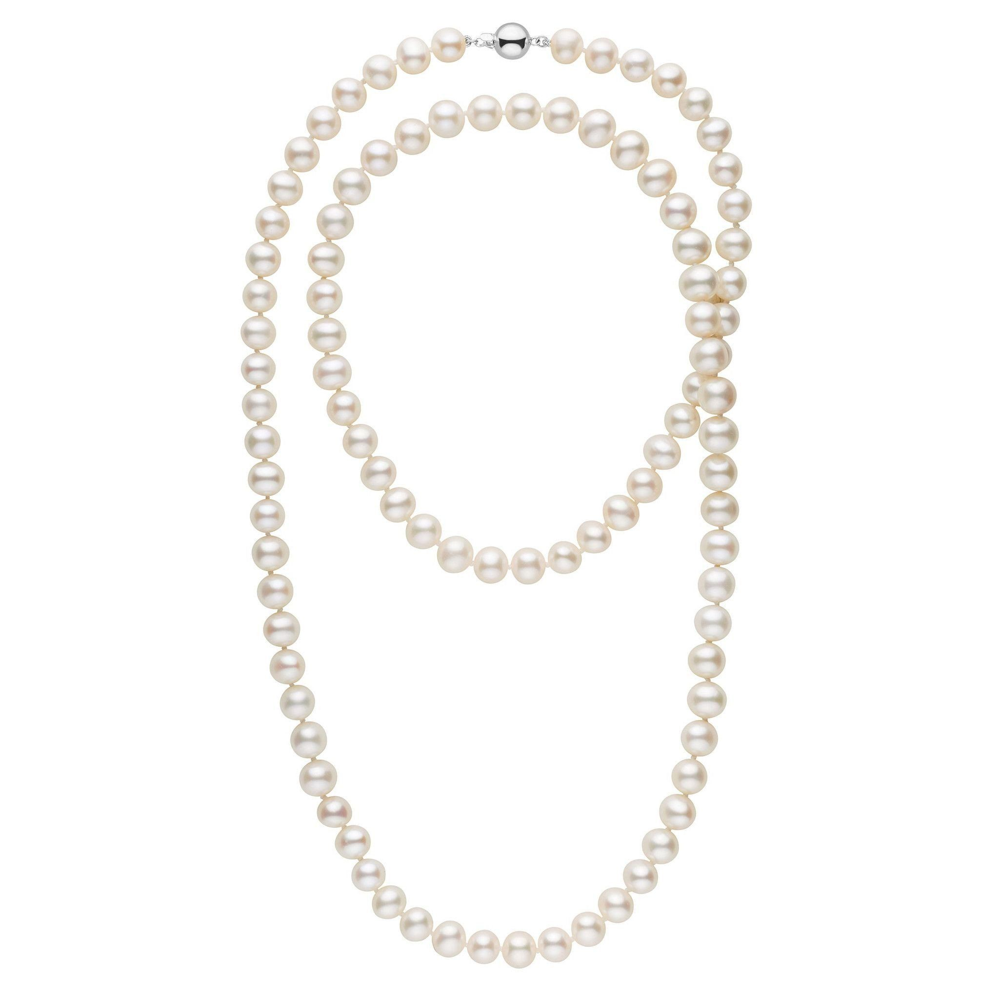 35-inch 8.5-9.0 mm AA+ White Freshwater Pearl Necklace