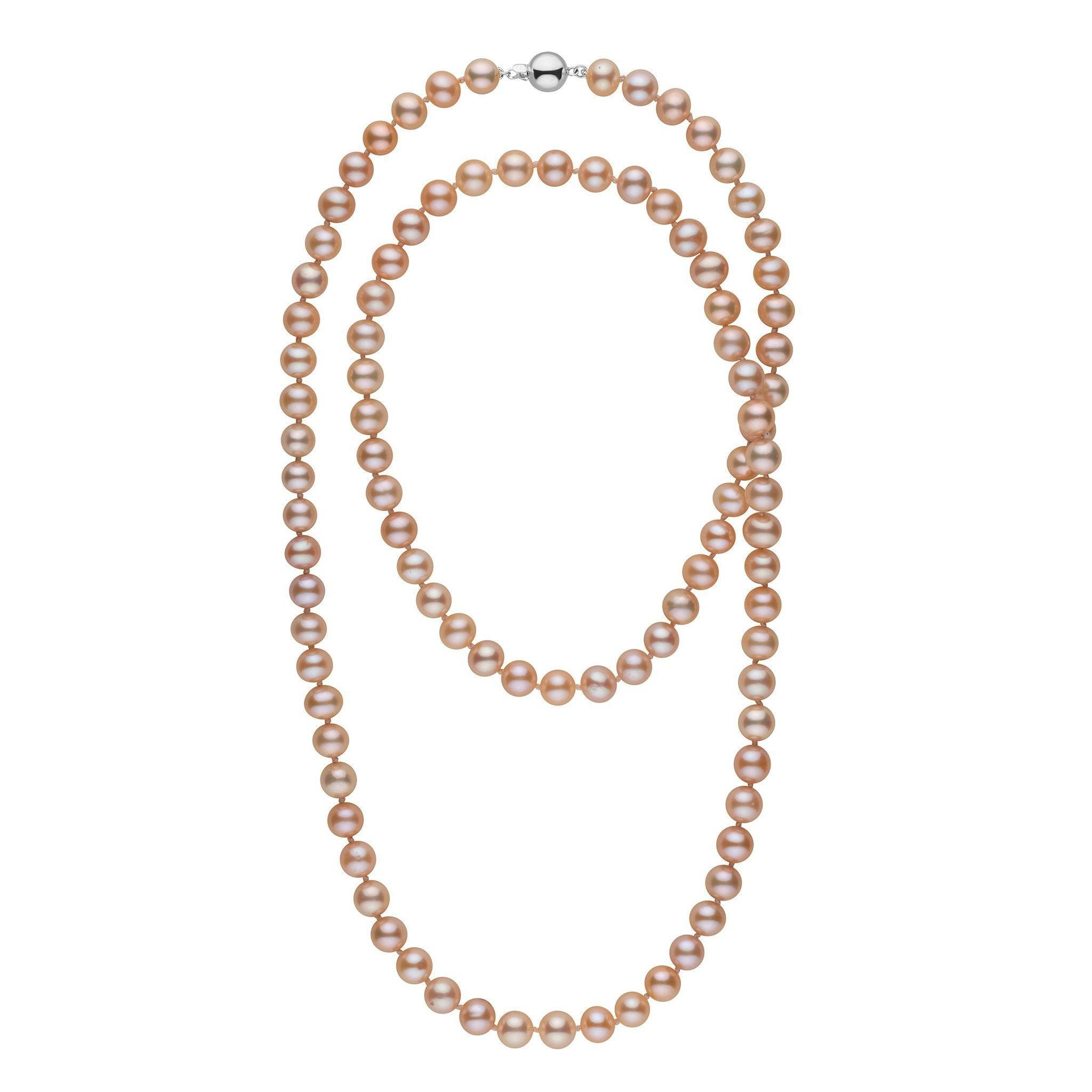 35-inch 8.5-9.0 mm AAA Pink to Peach Freshwater Pearl Necklace