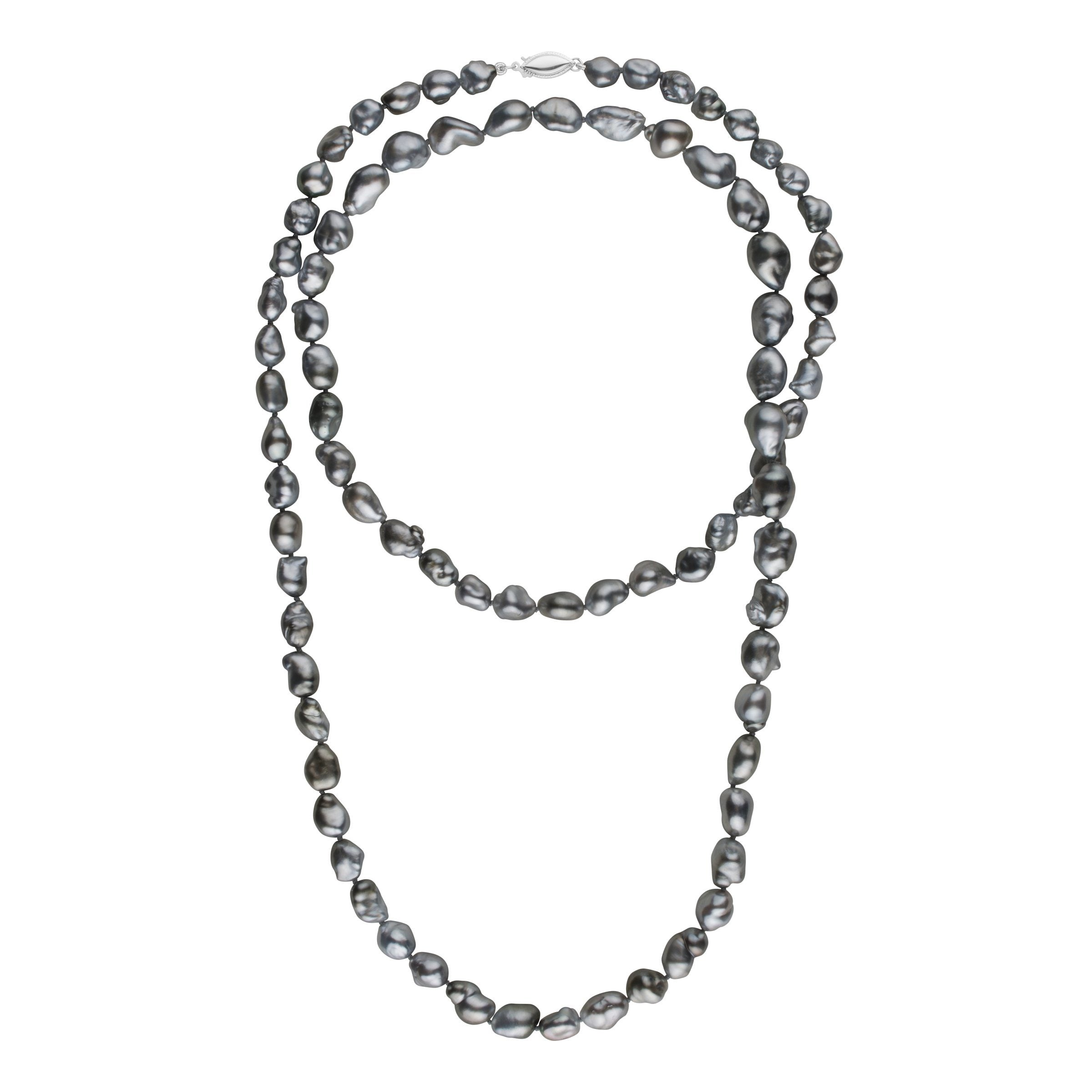 7.5-9.5 mm 35 Inch Dark Silver Keshi Tahitian Pearl Necklace