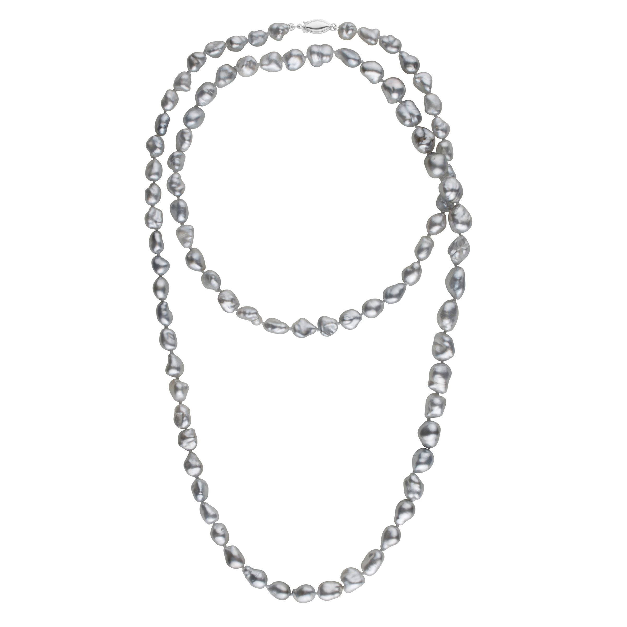 7.5-9.5 mm 35 Inch Light Silver Keshi Tahitian Pearl Necklace