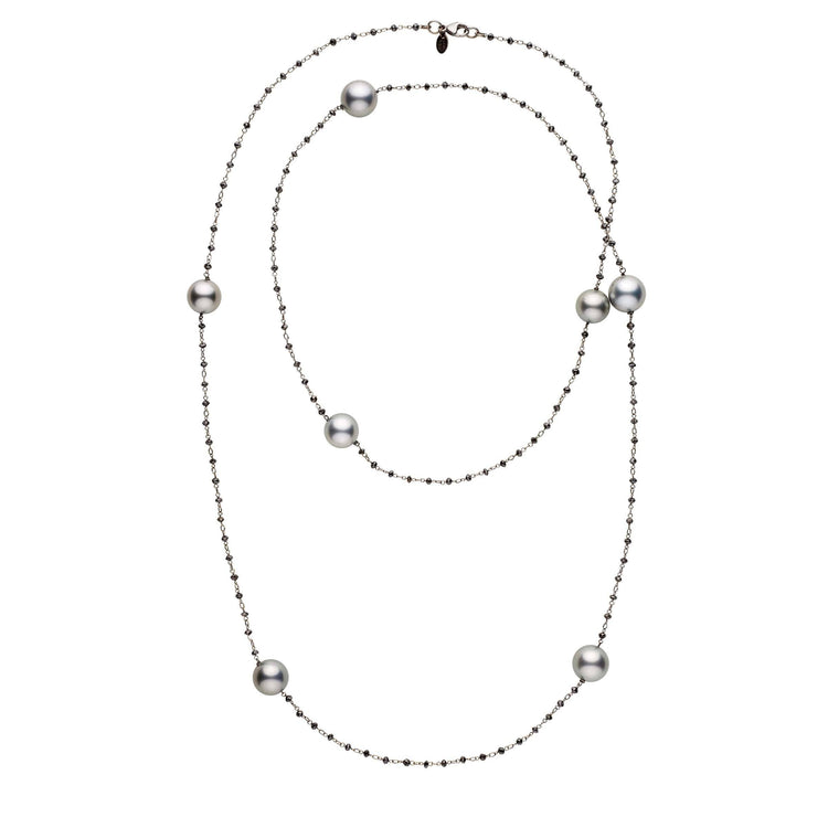 36-inch Black Diamond and Tahitian Pearl Tin Cup Style 18K Necklace