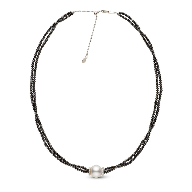 40.50 cttw Black Diamond and White South Sea Pearl Adjustable Necklace